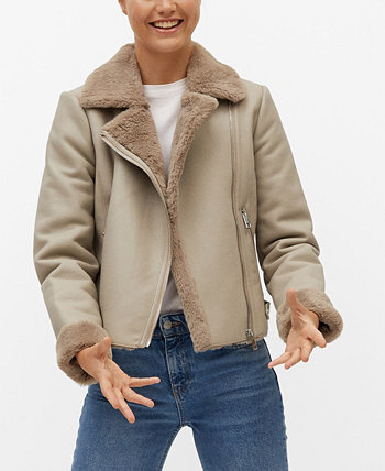 Women's Faux Fur Biker Jacket MANGO