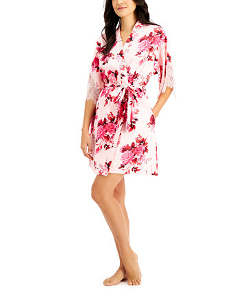 INC Lace-Trim Floral-Print Wrap Robe, Created for Macy's INC International Concepts