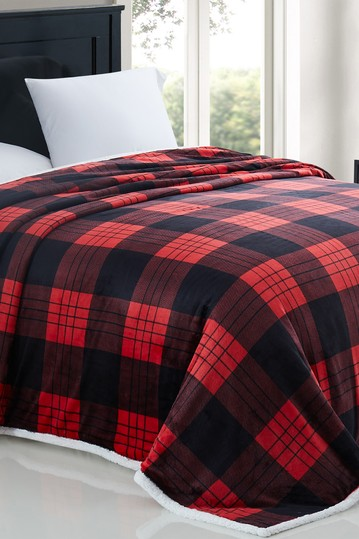 Modern Threads Printed Flannel Reversible Faux Shearling Blanket - Chloe Check - Twin Modern Threads