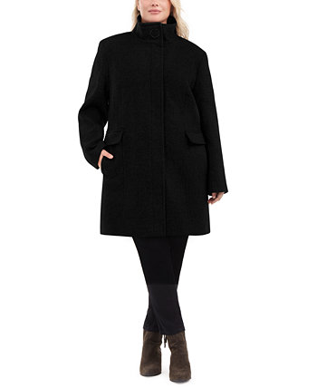 Plus Size Stand-Collar Walker Coat, Created for Macy's Calvin Klein