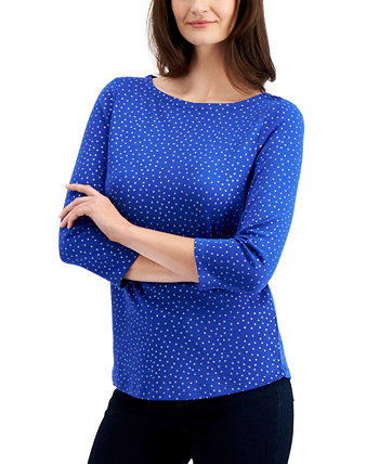 Petite Dot-Print 3/4-Sleeve Cotton Top, Created for Macy's Charter Club