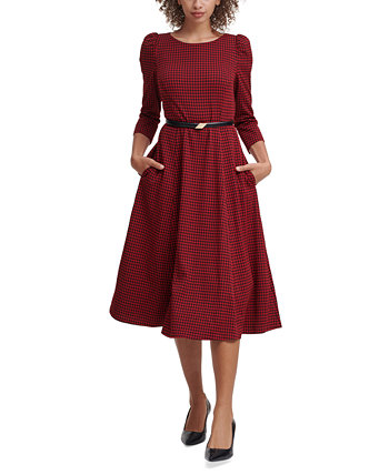 Belted Houndstooth A-Line Dress Calvin Klein