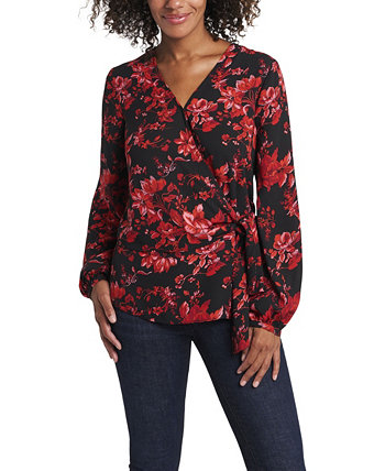 Women's Long Sleeve Tie Front Victorian Blooms Print Blouse Vince Camuto