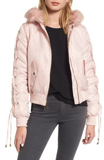 Lace-Up Sleeve Quilted Bomber Jacket Kensie