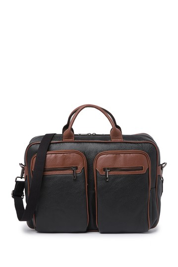 Two-Tone Pebbled Leather Bowling Bag Maison Heritage