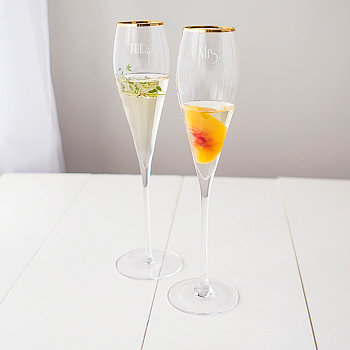 Mr. & Mrs. Gatsby Gold Rim Champagne Flutes Cathy's Concepts