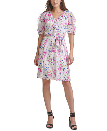 Floral Fit & Flare Dress DKNY