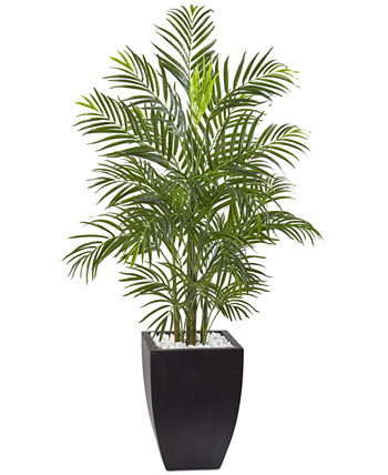 4.5' Areca Palm UV-Resistant Indoor/Outdoor Artificial Tree in Black-Washed Planter NEARLY NATURAL
