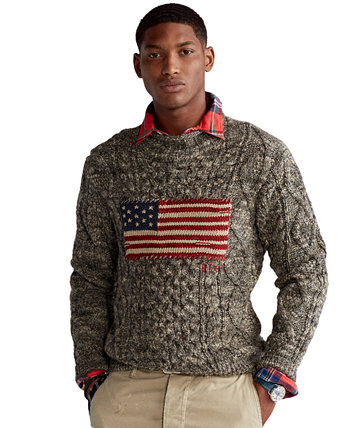 Men's Flag Aran Marled Sweater Ralph Lauren