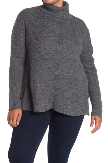 Turtleneck Ribbed Tunic Sweater (Plus Size) Sweet Romeo