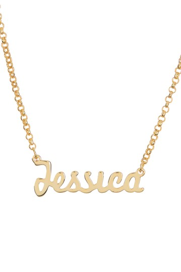 18K Yellow Gold Plated Sterling Silver 'Jessica' Name Pendant Necklace Argento Vivo