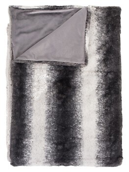 Irving Striped Faux Fur Throw Luxe Faux Fur
