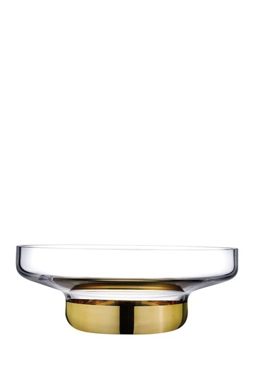 Contour Bowl - Wide with Clear Top and Golden Base Nude Glass