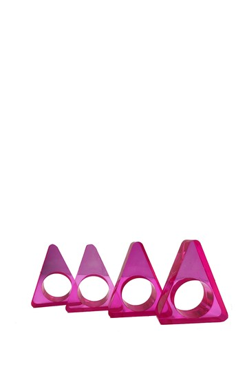 Neon Pink Triangle Napkin Ring R16 HOME