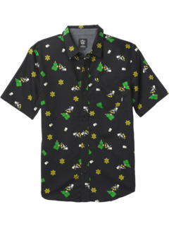 Vans X The Simpsons Glow Bart Houser Button-Down Short Sleeve (Big Kids) Vans Kids