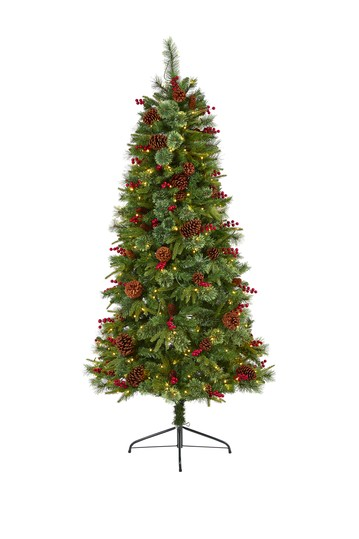 6.5ft. Norway Mixed Pine Artificial Christmas Tree with 350 Clear LED Lights, Pine Cones and Berries NEARLY NATURAL