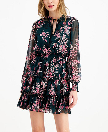 Floral-Print Mini Tie-Neck Dress, Created for Macy's Bar III