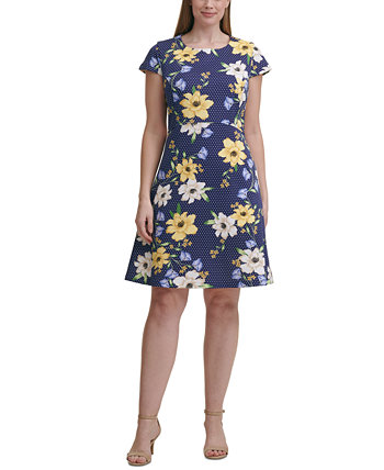 Plus Size Mixed-Print A-Line Dress Jessica Howard