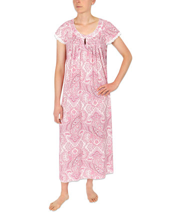Printed Knit Long Nightgown Miss Elaine