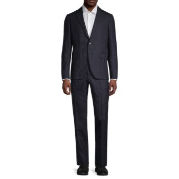 Modern-Fit Geometric Stretch-Wool Suit Versace Collection