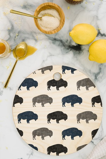 Little Arrow Design Co Modern Buffalo in Navy and Grey Round Cutting Board Deny Designs