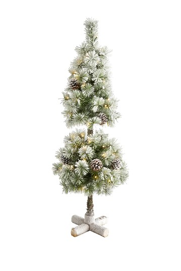 3ft. Flocked Artificial Christmas Tree Topiary with 50 Warm White LED Lights and Pine Cones NEARLY NATURAL
