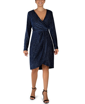 Velvet Foil Faux-Wrap Sheath Dress Julia Jordan