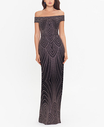 Off-The-Shoulder Glitter Gown Betsy & Adam