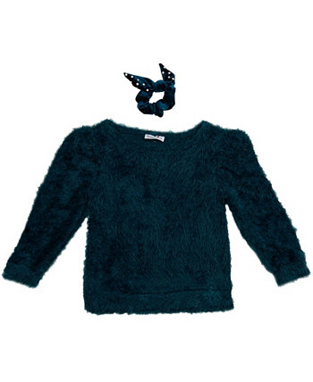 Beautess Girls Fuzzy Crew Neck Sweater with Matching Scrunchie Beautees