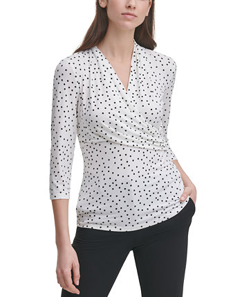 Dot-Print Ruched-Side Top DKNY