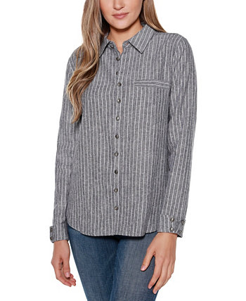 Black Label Striped Long Sleeve Collared Button Up Shirt Top with Pocket Belldini