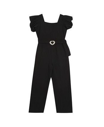 Big Girl Scuba Crepe Puff Sleeve Jumpsuit With Rhinestone Buckle Rare Editions