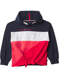 Color-Block Tie Front Hoodie (Big Kids) Tommy Hilfiger Kids