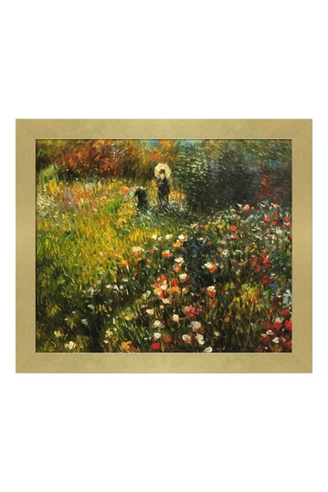 "Woman with a parasol in a Garden (Frau mi Sonnenschirm) with Semplice Specchio Frame, 24"" x 28"" No brands"