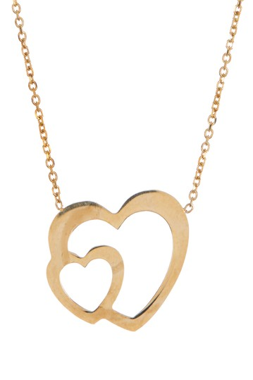 10K Yellow Gold Double Heart Pendant Necklace Candela