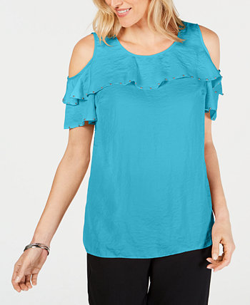 Petite Studded Ruffle Cold-Shoulder Top, Created for Macy's J&M Collection