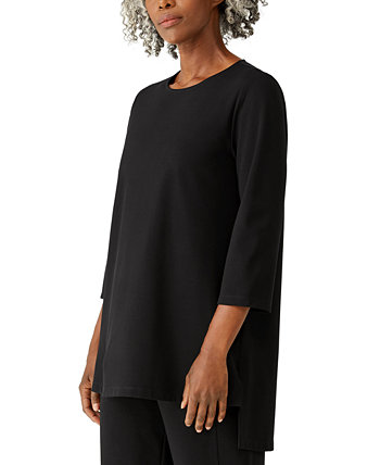 Jewel-Neck Asymmetrical Tunic Top Eileen Fisher