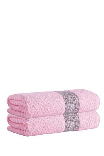 Anton Turkish Cotton Bath Towel - Pink - Set of 2 Enchante Home