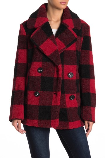 Faux Fur Buffalo Plaid Print Notch Collar Jacket French Connection