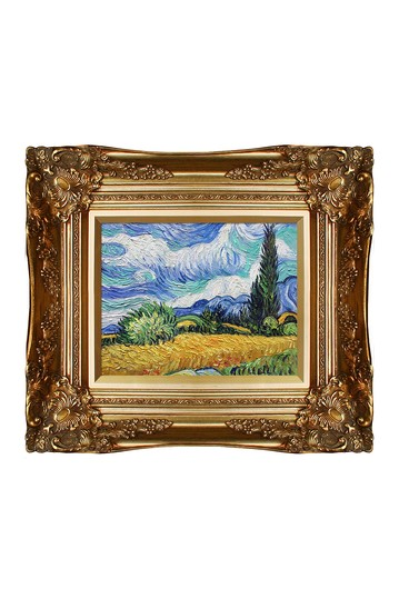 Wheat Field with Cypresses by Vincent Van Gogh Framed Hand Painted Oil on Canvas No brands