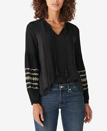 Metallic-Embroidered Peasant Blouse Lucky Brand
