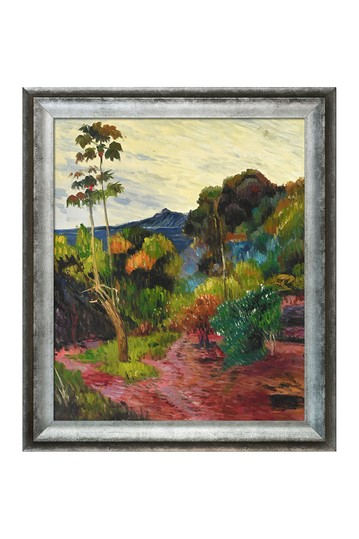 """Martinique Landscape, 1887 with Athenian Distressed Silver Frame, 25"""" x 29"""" No brands"""