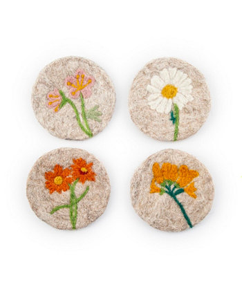 Tan Felted Wool Coasters with Floral Designs Set of 4 THIRSTYSTONE