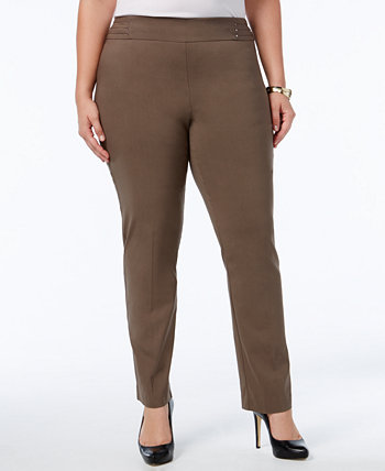 Plus Size Tummy Control Pull-On Slim-Leg Pants J&M Collection