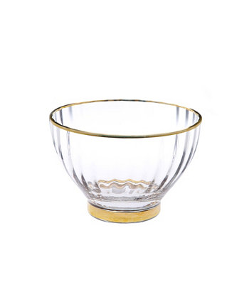 """9"""" Glass Textured Salad Bowl with Vivid Gold Tone Rim and Base Classic Touch"""