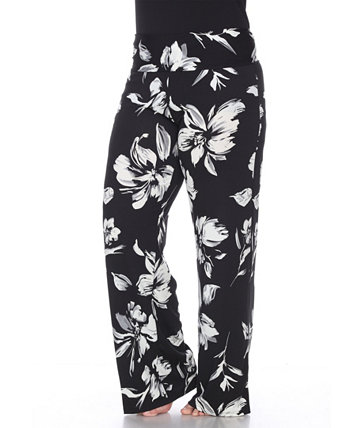 Plus Size Flower Print Palazzo Pants White Mark