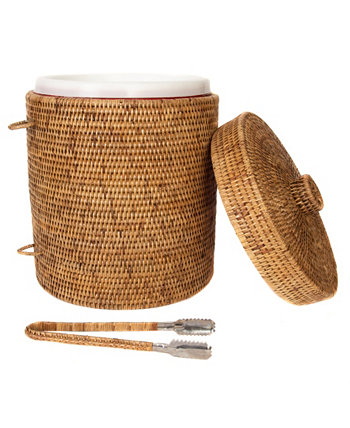 Rattan Ice Bucket with Tongs Artifacts Trading Company