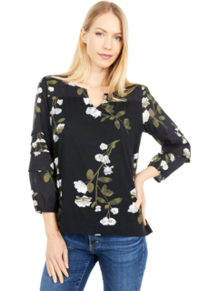 Printed Mixed Media Blouse Lucky Brand