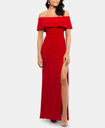 Petite Ruffled Off-The-Shoulder Gown XSCAPE