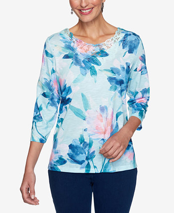 Petite Floral-Print Lace-Trim Top Alfred Dunner